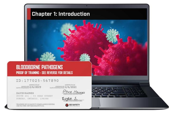 Screen shot and Certificate from the Bloodborne Pathogen Course