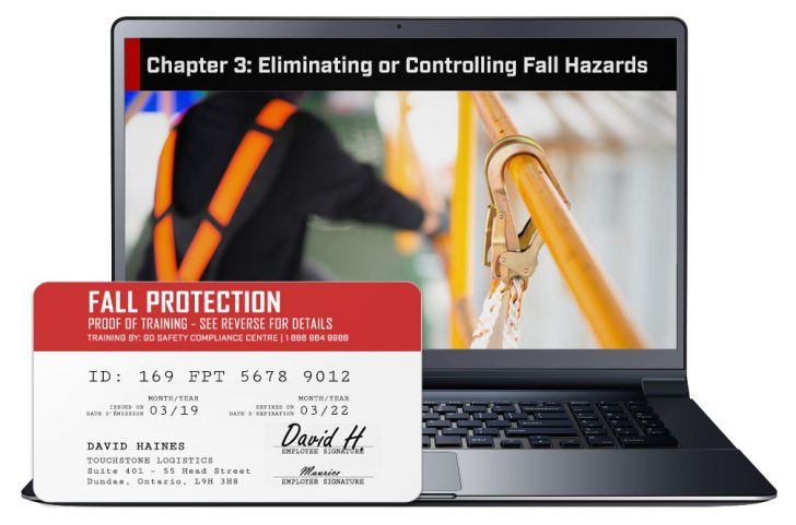 Screen shot and Certificate from the Fall Protection Training Course